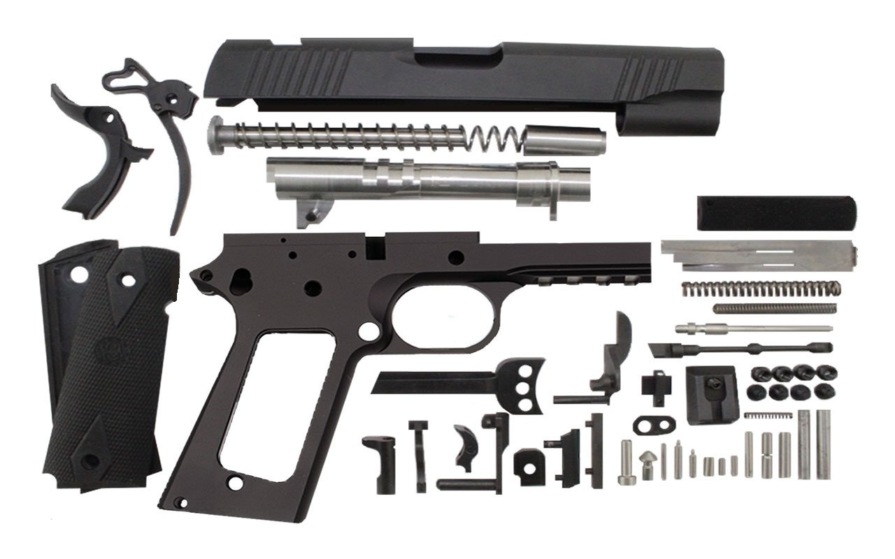 "9 / Commander 4.25"" Tactical  / Anodized Black 1911 Build Kit"